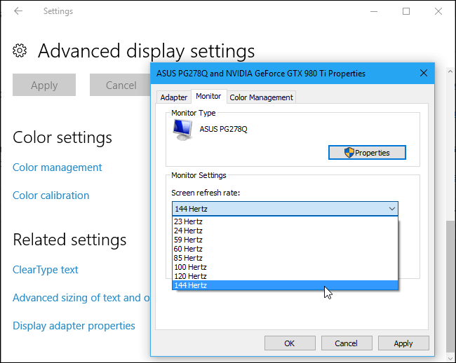 Screen Refresh Rate 144HZ