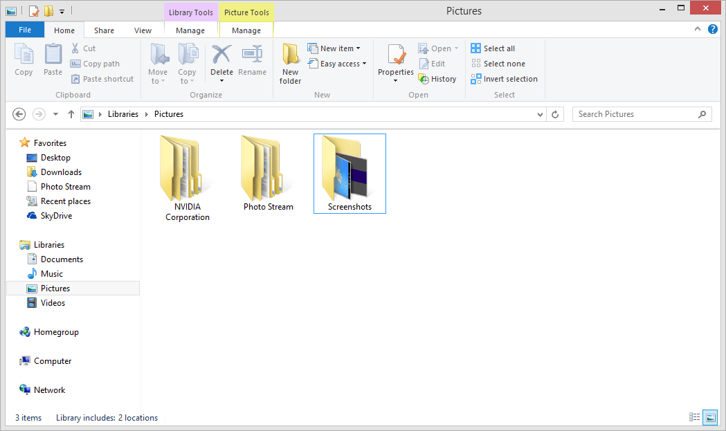 screen shot folder pictures