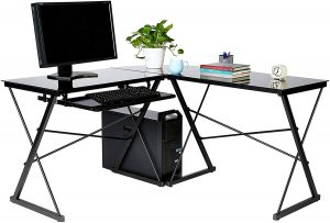 AmazonBasics Three Piece Glass Computer Desk